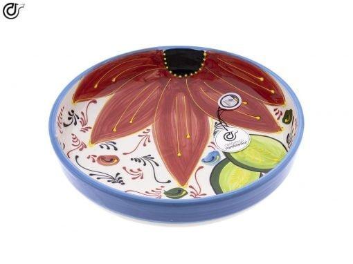 comprar-ensaladera-bol-decorado-azul-flor-roja-modelo-08-02
